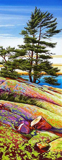 "on Lichen Covered Rock"" by Margarethe Vanderpas Landscape Drawings, Cool Landscapes, Landscape Art, Landscape Paintings, Contemporary Landscape, Art Paintings, Painting Art, Contemporary Artists, Watercolor Trees"