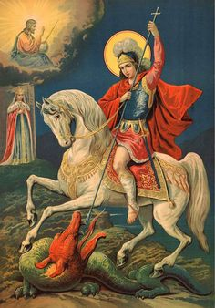 st george and the dragon icon Catholic Art, Catholic Saints, Religious Art, Religious Tattoos, Saint George And The Dragon, Christian Artwork, Byzantine Icons, Art Carved, Orthodox Icons