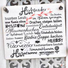 shabbyflair - Holzschild mit herbstlicher Textcollage  HERBSTZAUBER