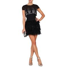 KARLEY EMBELLISHED OVERLAY AND FEATHER SKIRT DRESS - On Model