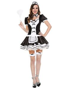 Sweet Majestic French Maid Womens Costume - You'll have them saying, Oui, Oui! The Sweet Majestic French Maid Women's Costume includes black dress with white apron detail, full skirt and black b French Maid Dress, French Maid Uniform, French Maid Costume, French Maid Halloween, Sexy Halloween Costumes, Spirit Halloween, Halloween Ideas, Maid Outfit, Up Girl