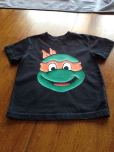 "Heat transfer vinyl "" ninja turtle face""  shirt"