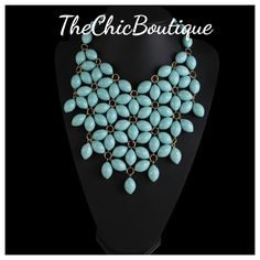 "This is a beautiful necklace in a soft teal like color, ""Tiffany blue"", perfect for Spring and Summer outfits.  Fast and Free shipping in the U.S 