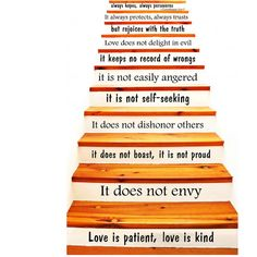 Wall Decals Staircase Quotes Love is Patient Love is Kind 1 Corinthians 13 STAIR CASE Stairway Stairs Quote Wall Vinyl Decal Stickers Bedroom Murals >>> Click image for more details.