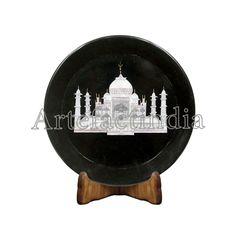 Round Black Marble Inlay Wall Plate Decorative Wall Plate With Taj Mahal Design Inlaid With Semi Precious Gemstones x Unique Art Piece