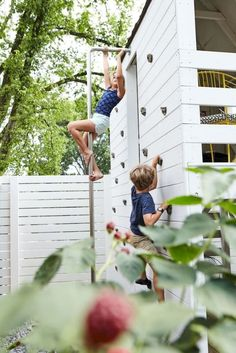 """The stainless steel pole holds up to weather and is smooth for bare skin. The… ""The stainless steel pole holds up to weather and is smooth for bare skin. The climbing area has enough room for two to climb. Kids Outdoor Play, Outdoor Play Spaces, Kids Play Area, Backyard For Kids, Outdoor Fun, Kids House Garden, Small Yard Kids, Play Area Garden, Outdoor Play Structures"