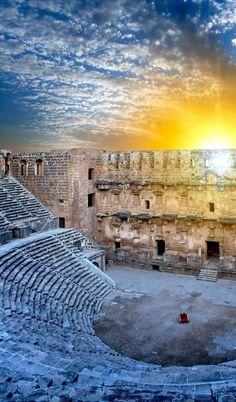 Aspendos Amphitheater with Dramatic sky (Antalya Turkey) | Turkey Travel Guide