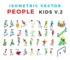 ISOMETRIC VECTOR People Kids v2 by Sentavio on @creativemarket