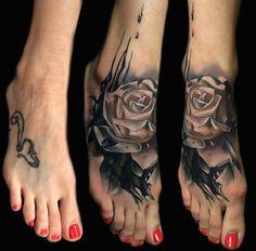 Rose Foot Tattoo by Sebastian Nowacki