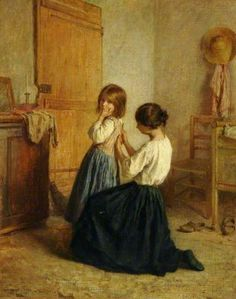 Sewing on a Button (1882) - Pierre Edouard Frère