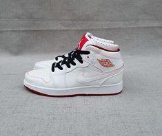 Womens Air Jordan 1 Mid White Gym Red-Black Authentic 5d5984856