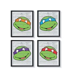 Teenage Mutant Ninja Turtle White Wood Art Prints, TMNT Distressed Rustic Look, Boys Bedroom, Nursery, Playroom Decor - Qty 4, Superhero by GraphicallyEverAfter on Etsy Baby Shower Gifts For Boys, Playroom Decor, Bathroom Art, Nursery Neutral, Teenage Mutant Ninja, White Wood, Wood Art, Art Prints, Tmnt