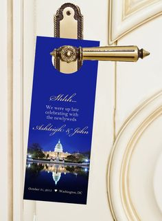 $20 for 20 #WashingtonDCWedding #DoNotDisturb #doorhangers by http://www.bestwelcomebags.com