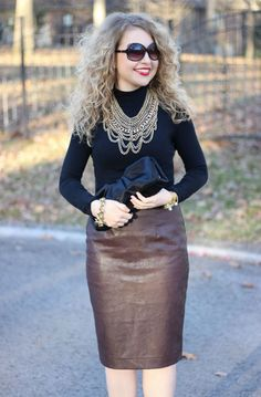 Fashion inspired by the people in the street ootd look outfit sexy heels leather skirt Ann Taylor Faux Leather Pencil Skirt