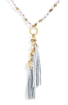 Free shipping and returns on Chan Luu Double Tassel Pendant Necklace at Nordstrom.com. A long pendant necklace dotted with opalescent semiprecious stones is anchored by a golden ring and free-flowing leather tassels for a perfectly on-trend look.