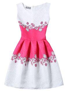 Shop Sleeveless Flower Print Jacquard A-Line Dress online. SheIn offers Sleeveless Flower Print Jacquard A-Line Dress & more to fit your fashionable needs. Short A Line Dress, Short Sleeve Dresses, Lovely Dresses, Day Dresses, A Line Cocktail Dress, Baby Dress Design, Long Sleeve Floral Dress, Floral Dresses, Girls Party Dress