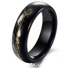 Lord the of the ring Black tungstênio senhor dos aneis negro escrito em ouro