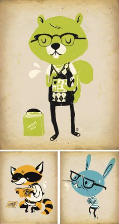 nerdy animal illustrations