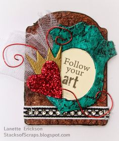 #cre8time for this crown of heart tag. Lanette Erickson did! #stampendous #artanthology