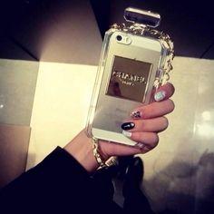 Love this Chanel no. 5 bottle Iphone case via Shopdreamdust.com