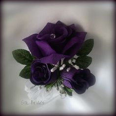 Pinon Corsage Purple Roses Silk Wedding Flowers by SilkBridals, $5.99