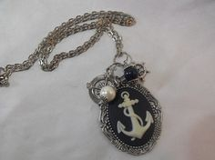 """""""Nautical Anchor Cameo Necklace Pearl and Lapis Beads. $15.00, via Etsy."""""""