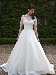 Wholesale Bridal Gowns - Buy Christmas Excellent A Line Gown Sweep Brush Train Wedding Dresses Port Short Sleeve Bridal Gowns Floor Length Lace Taffeta Dress, $117.45 | DHgate