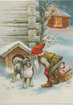 """Christmas gnome with dog. Artist is """"LC"""""""