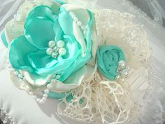 Aqua/Seafoam  Baby Girl Flower Headband Infant by lepetitejardin, $24.95