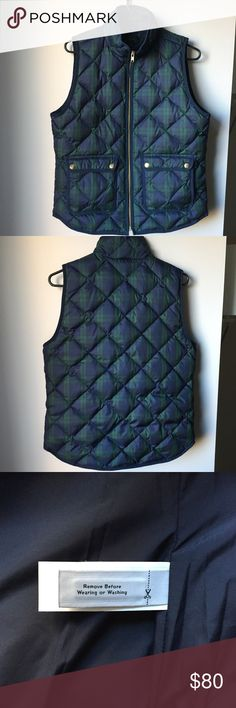 New J Crew Plaid Excursion Quilted Vest S It's new without tags! I've never worn it as it is a bit too big for a size small. It's super classy, warm, and high quality and sold out everywhere! Originally bought it for $120 at the J Crew store. J. Crew Jackets & Coats Vests