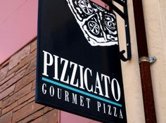 Pizzicato Gourmet Pizza is a pizza restaurant.It is family friendly place.This pizza restaurant is located at 505 NW 23rd Ave.I wanted to pin this restaurant because I find it's logo unique and simple.I think that its unique because it has a lot of details,but they balance out each other.