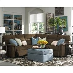 Bassett Sectional, Brady L Shaped Sectional. Reclining Motion Sectional.  Upholstered.