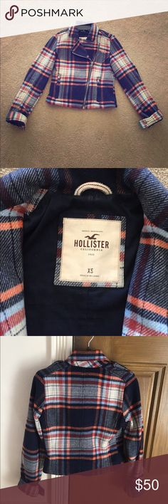 Hollister Plaid Coat!! Plaid coat that zips up. The inside is cozy and warm and the outside is made of 60% wool. :) Great condition. Hollister Jackets & Coats