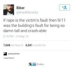 Sorry for you Americans to stop your whining about 9/11 and your horrible history with terrorism, but after your logic, it's your fault. When you build Skyscrapers, you practically invite planes to collide with them.
