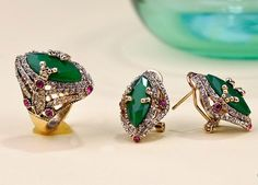 Gold Plated Turkishe Jewelry Sets,  Women's Emerald Green Earring And Ring Jewelry Sets
