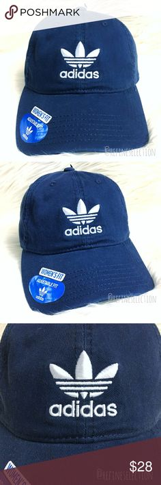Adidas Trefoil Navy Blue Relaxed Strapback Dad Hat Brand new with tags, Adult, Unisex, One Size. This Adidas Originals Trefoil Collegiate Navy Blue Relaxed Strapback Dad Hat Cap is a must have! Navy blue with the Adidas Trefoil logo embroidered in white on the front and back. Adjustable strapback for the perfect fit! Interior is lined with blue and white pinstripe fabric and Adidas Trefoil trim. Grey underneath the brim. Made for a women's fit. adidas Accessories Hats