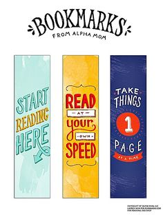 Free printable bookmarks from Alpha Mom: Beautifully illustrated!