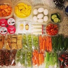 Always have a healthy snack ready to go by placing in tubberware containers and sandwich baggies. G;)
