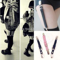 2015 Sexy moda Harajuku 100% hechos a mano del Punk Rock Clip pierna liguero para