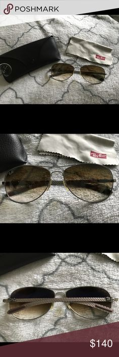 RAY-BAN AVIATORS - RB8301 UNISEX RAY-BAN *AUTHENTIC* Retail: $205.00 RB8301 56 CARBON FIBRE UPC#805289303954 FRAME/LENS COLOR: GUNMETAL 100% UV Protection Style: Aviator/Pilot Frame material: Metal Lens material: Glass Case Type: HARD Looks best on these face shapes: Fit: Small Eye Size: 56 Bridge/Temple Size: 14/140  Excellent condition! Gently worn only a few times, no visible flaws/scratching on lenses or frames. Comes with dust cloth & Ray-Ban leather case. No trades accepted. Ray-Ban…