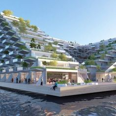 BIG and Barcode's terraced block Sluishuis in Amsterdam ~ Great pin! For Oahu a… - Terrasse Shopping Mall Architecture, Hotel Design Architecture, Concept Architecture, Futuristic Architecture, Facade Architecture, Residential Architecture, Biophilic Architecture, Oahu, Amsterdam