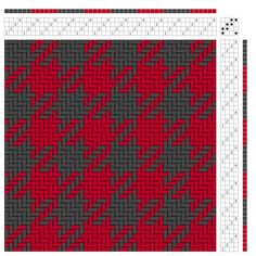 A simple color and weave pattern. A red and grey houndstooth.  How to read a draft