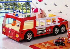 Fire Fighting Car shaped beds designs for kids room