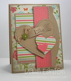 With Love Card- lovely layers and stitching detail