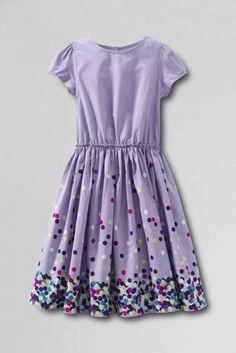 Girls' Short Sleeve Gathered Waist Twirl Dress from Lands' End