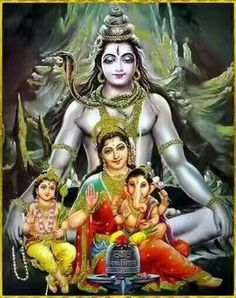 'Om namah shivay 🙏 jai maa Parvati 🙏 jai Ganesh Bhagwan 🙏 jai kartikay Bhagwan 🙏(The Shiva Tribe). Arte Shiva, Shiva Art, Shiva Shakti, Hindu Art, Lord Shiva Family, Shiva Statue, Lord Shiva Painting, Shiva Wallpaper, Diwali Wallpaper