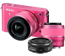 Nikon 1 J2 Pink 10.1MP Digital Camera Kit and Extra 10mm f/2.8 Lens 849,98$