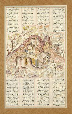 خان سوم کشتن رستم اژدها را، نگارگر ناشناس، شاهنامه فردوسی، قرن 19 میلادی،41.8 در 28 سانتیمتر برگ بزد تیغ و انداخت از تن سرش فروریخت چون رود،خون از برش BOOK OF KINGS (SHAHNAMA) IRAN, LATE 19TH CENTURY Transparent pigments and ink heightened with gold on paper, each with a central illustration depicting a scene from the epic, Rustam and his horse Raksh charging a dragon, the lassoing of a div, each folio with four columns of text in nasta'liq script above and below, text within polychrome…