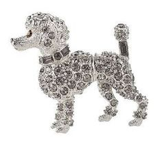 Kenneth Jay Lane KJL NEW Clear Pave Crystals Miniature French Poodle Dog Pin #KennethJayLane