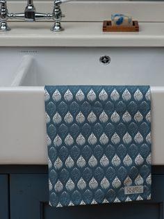 Ochre & Ocre Organic Cotton Tea towel - Isabella: Isabella Blue